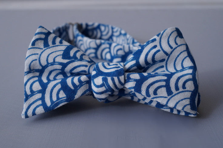 Seigaiha Wave Pattern Bow Tie Tied