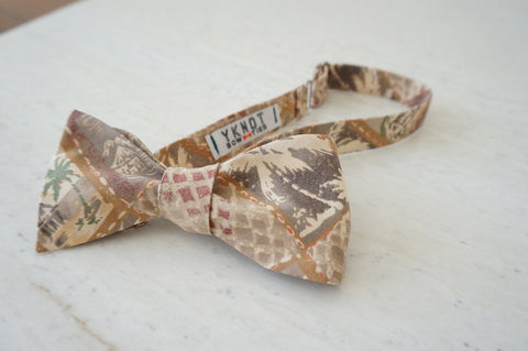 Brown Palm Tree Aloha Shirt Bow Tie Tied
