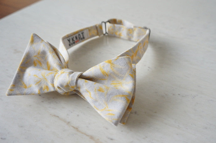 Yellow Leaves Aloha Shirt Bow Tie Tied