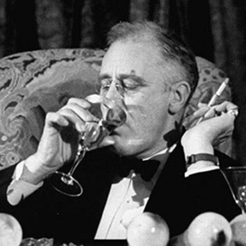 Franklin Delano Roosevelt Enjoying a cocktail