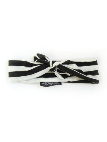 Black/ White Stripe Knotted Headband