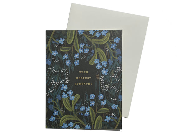 Blue Floral With Deepest Sympathy Card