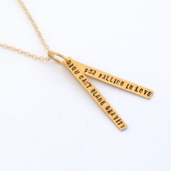 Gold Albert Einstein Quote Necklace