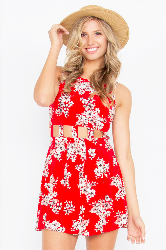 ANOTHER DAY FLORAL CUTOUT DRESS