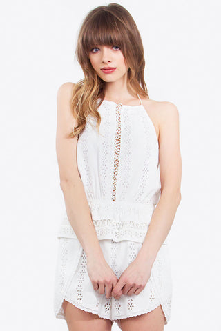 DELICATE LACE UP ROMPER