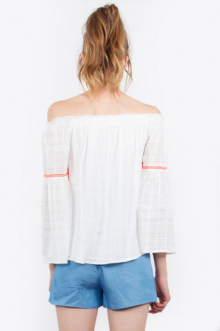 ZORA EMBROIDERED BELL SLEEVE TOP
