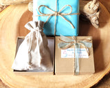 Eco Friendlier Recycled Paper Gift Box, Reusable Cotton Jewellery Pouch, Tissue Paper, Ribbon and Twine