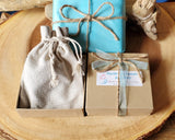 Recycled Paper Gift Box, Reusable Cotton Jewellery Pouch, Tissue Paper, Ribbon and Twine