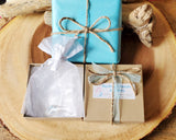 Recycled Paper Gift Box, Reusable White Organza Jewellery Pouch, Tissue Paper, Ribbon and Twine