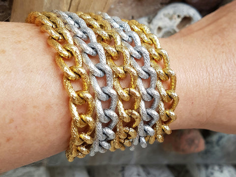 Silver and Gold Multi Chain Cuff Bracelet