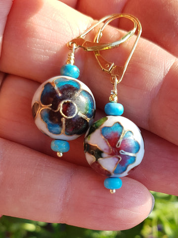 Antique Cloisonné Floral Garden Earrings-Handcrafted-Sterling Silver Vermeil-Gold-Antique Floral Cloisonné Earrings-Leaver Back