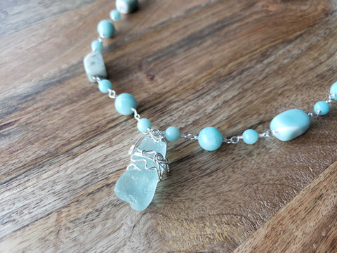 Tranquil Water Amazonite and Beach Glass Wire Wrapped Sterling Silver Necklace