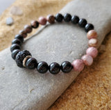 Elegant Rhodolite and Black Onyx Beaded Bracelet
