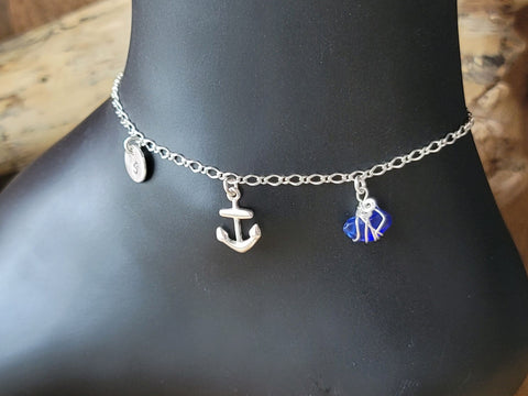 Deluxe Personalized Blue Beach Glass, Friendship, Anchor, Infinity, Initial Ankle Bracelet-Anklet
