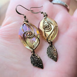 Large Gold Sparkle Leaf Earrings
