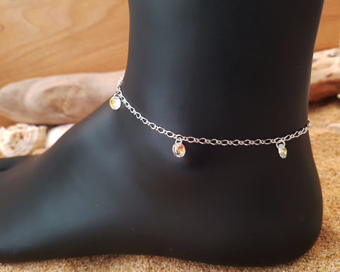 Eternal Dance Crystal Ankle Bracelet-925 Sterling Silver- Swarovski Crystal Dangle Beach Anklet-Bridal Anklet