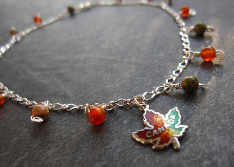 "Canadian Autumn Statement Ankle Bracelet-Anklet, ""OOAK"" Anklet, Vintage Sterling Silver Gemstone Maple Leaf Fall Inspired Anklet"