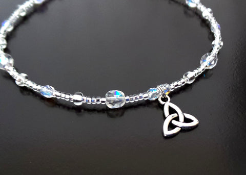 Crystal Sparkle Celtic Trinity Knot Ankle Bracelet-Handcrafted-Beaded & Silver Trinity Knot Pendant