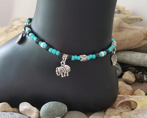 Elephant Charm Beaded Anklet-Ankle Bracelet, Turquoise, Brown, OOAK Beaded
