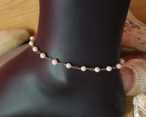 Golden Freshwater Cultured Pearl Anklet-Ankle Bracelet