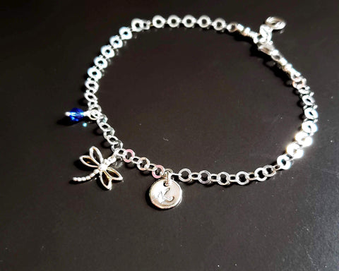 Personalized Dragonfly, Eternity, Initial Birthstone Ankle Bracelet-Anklet
