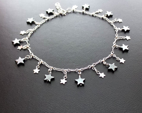 Star Power Anklet-Ankle Bracelet-Sterling Silver, Hematite,