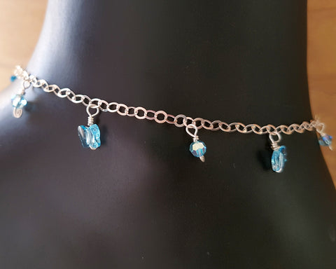 Aqua Blue Butterfly Crystal Anklet-Ankle Bracelet. Handcrafted with 925 Sterling Silver & Swarovski Crystal Butterflies & Beads on Chain.