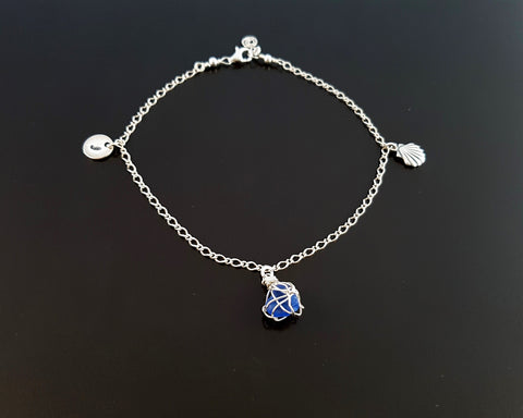 Blue Beach Glass, Sea Shell, Infinity, Initial Ankle Bracelet-Anklet-Sterling Silver, Lake Ontario Glass