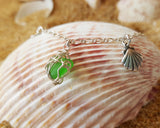 Emerald Green Beach Glass, Sea Shell, Infinity, Initial Ankle Bracelet-Anklet