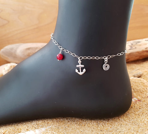 Anchor Birthstone Eternity Anklet-Ankle Bracelet-Sterling Silver-Gemstone-Charm-Chain Anklet