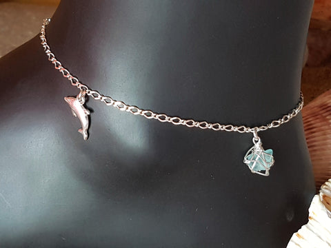 Aqua Blue Beach Glass, Seahorse, Dolphin Infinity Ankle Bracelet-Anklet, Sterling Silver, Sea Glass