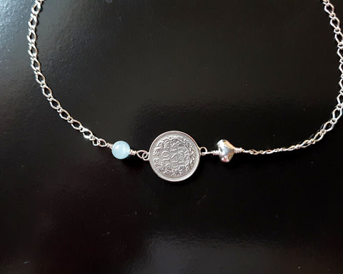 Love and Eternal Prosperity Coin, Birthstone, Heart Anklet, Anklet Bracelet