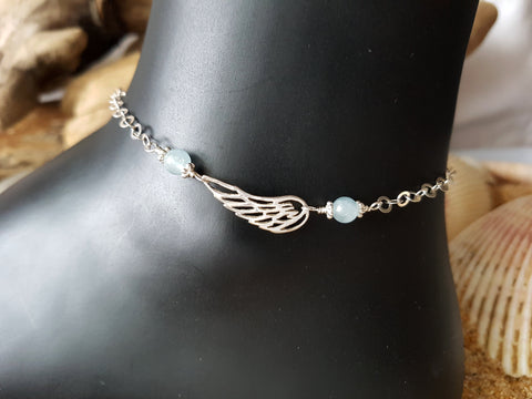 Aquamarine Wing Eternity Ankle Bracelet / Anklet