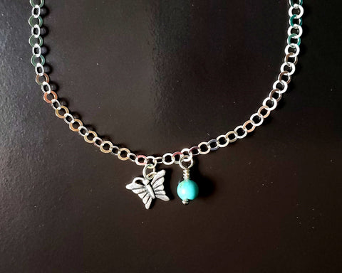 Personalized Butterfly Birthstone Eternity Anklet-Ankle Bracelet, Sterling Silver, Gemstone