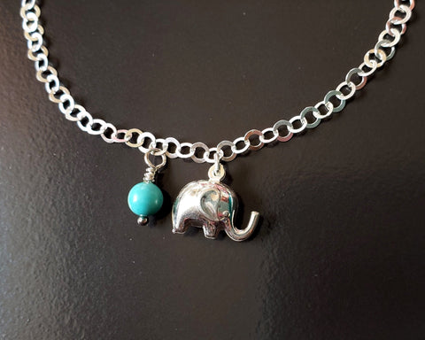 Personalized Elephant Birthstone Eternity Anklet-Ankle Bracelet