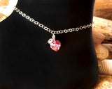 Heart Eternity Crystal Anklet-Sterling Silver-Swarovski Crystal,Celtic Eternity Coil