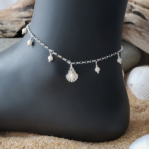Deluxe Genuine Pearl Shell Dangle Anklet-Ankle Bracelet-Sterling Silver-Freshwater Pearls-Shell Pendant