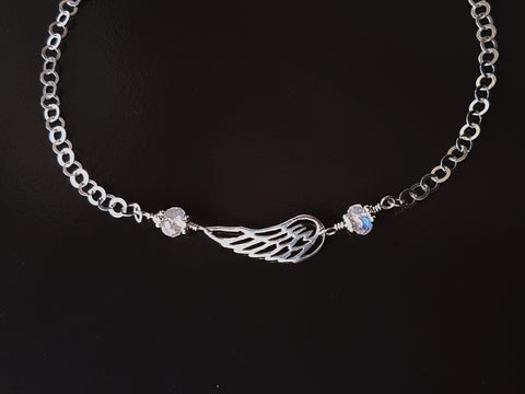 Moonstone Angle Wing Anklet-Ankle Bracelet-Sterling Silver-Wing Pendant-Genuine Moonstones-Celtic Eternity Pendant