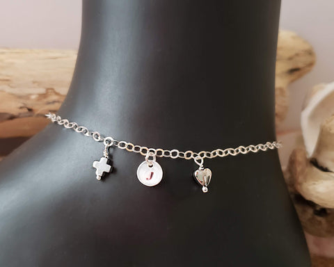 Be Positive Personalized Anklet-Ankle Bracelet, Initial Pendant, Heart, Cross, Positive Symbol, Sterling Silver