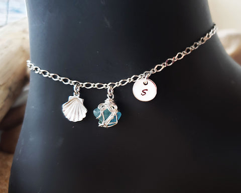 Personalized Aqua Blue Beach Glass, Sea Shell, Infinity, Initial Ankle Bracelet-Anklet