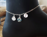 Deluxe Personalized Aqua Blue Beach Glass, Sea Shell, Infinity, Initial Ankle Bracelet-Anklet