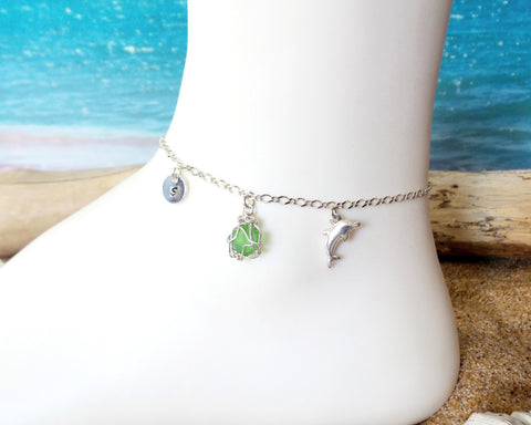 Personalized Dolphin Emerald Green Beach Glass, Infinity Initial Ankle Bracelet-Anklet