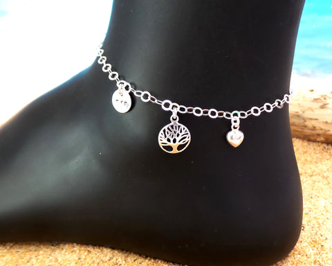 Tree of Life, Heart, Mom Ankle Bracelet / Anklet