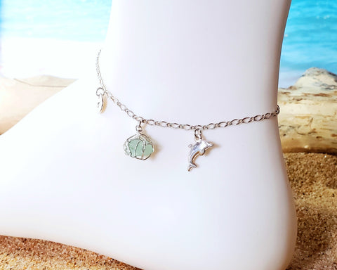 Personalized Dolphin Aqua Blue Beach Glass, Infinity Initial Ankle Bracelet-Anklet
