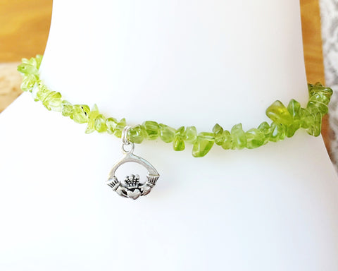 Peridot Claddagh Anklet -Claddagh Ankle Bracelet