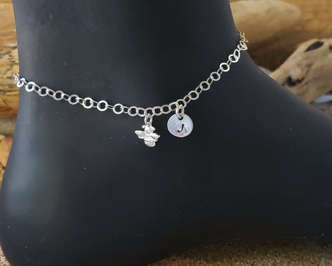 Personalized Bee Initial Anklet, Bee Ankle Bracelet