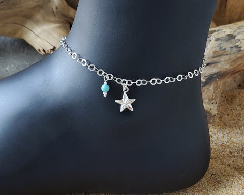 Personalized Star Birthstone Ankle Bracelet / Anklet