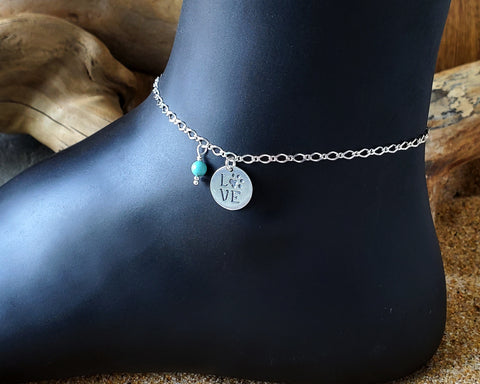 Personalized Animal Dog Lover Eternity Anklet, Ankle Bracelet