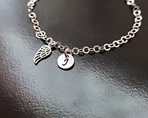Personalized Wing Initial Ankle Bracelet/ Anklet