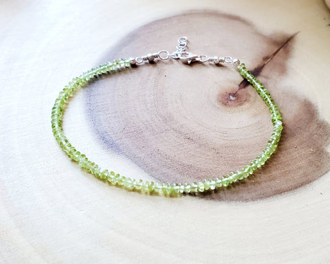 Peridot Beaded Ankle Bracelet, Anklet, Ethical Peridot, Sterling Silver, Ethical Gemstone